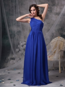 Popular Royal Blue Empire One Shoulder Prom Dress Chiffon Beading Brush Train