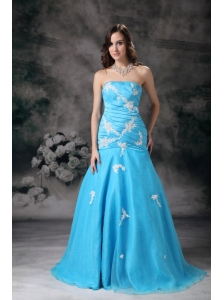 Pretty Aqua Blue Mermaid Strapless Prom Dress with Appliques