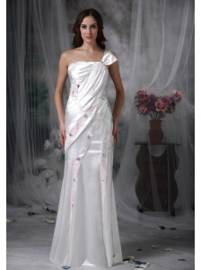 Pretty Column One Shoulder Evening Dress Taffeta Beading and Ruch Floor-length