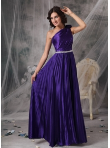 Pretty Purple Empire One Shoulder Prom Dress Elastic Woven Satin Beading Floor-length