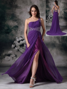 Purple Empire One Shoulder Prom / Evening Dress Chiffon Beading
