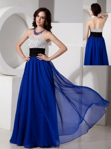 Remarkable Royal Blue Empire Sweetheart Prom Dress Chiffon Beading