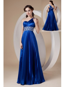 Royal Blue Empire One Shoulder Prom Dress Elastic Woven Satin Beading