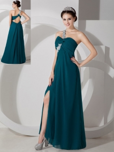 Simple Green Empire One Shoulder Prom Dress Chiffon Ruch and Appliques Floor-length