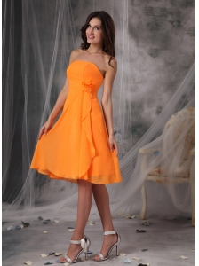 Sweet Orange Strapless Short Prom Dress Chiffon Handle Flowers  Knee-length