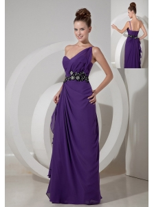 Sweet Purple Column One Shoulder Prom Dress Chiffon Beading Floor-length