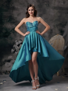 Teal Sweetheart High-low Taffeta Appliques Prom / Homecoming Dress