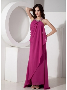 Unique Simple Modest Fuchsia Halter Top Prom Dress