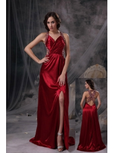 Wine Red Empire V-neck Prom Dress Beading and Ruch Taffeta