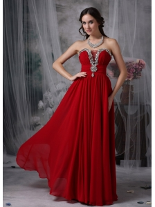 Beautiful Red Strapless Chiffon Prom / Evening Dress with Beading
