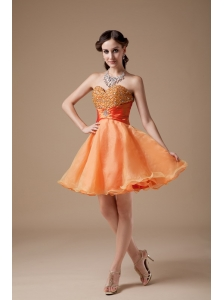 Cheap Orange Red A-line Sweetheart Prom Dress Organza Beading Mini-length