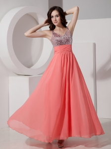 Custom Made Watermelon Empire Straps Prom Dress Chiffon Beading Ankle-length