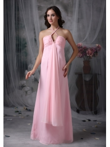 Customize Baby Pink Evening Dress Empire Halter  Chiffon Beading Floor-length