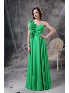 Customize Green Empire One Shoudler Prom Dress Chiffon Hand Made Flowers Floor-length