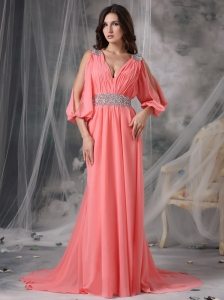Customize Watermelon Red V-neck Prom / Evening Dress Chiffon Beading Court Train