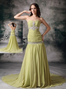 Customize Yellow Green Prom Dress Mermaid Sweetheart Chiffon Beading Court Train