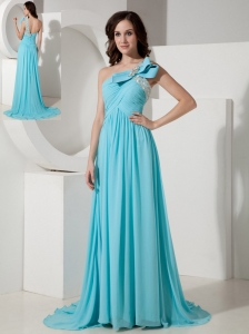 Elegant Aqua Empire One Shoulder Prom / Evening Dress Chiffon Beading