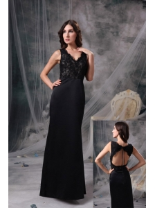 Elegant Black Evening Dress Column V-neck Satin Lace Floor-length