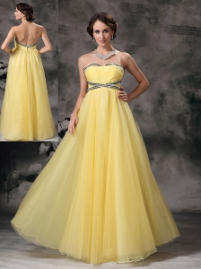 Elegant Light Yellow Prom / Evening Dress Empire Sweetheart Tulle Beading Floor-length