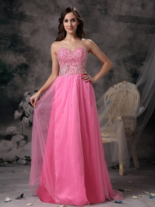 Elegant Rose Pink Empire Sweetheart Prom Dress Taffeta and Tulle
