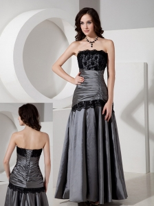 Elegant Grey Evening Dress A-Line / Princess Strapless Taffeta Lace Floor-length