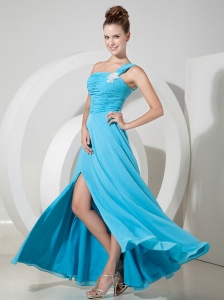 Exquisite Aqua Blue One Shoulder Chiffon Prom Dress