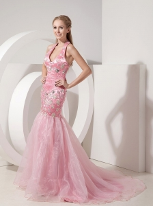 Fashionable Baby Pink Evening Dress Mermaid Halter Organza and Taffeta Beading and Appliques Brush Train
