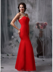 Fashionable Red Evening Dress Mermaid Sweetheart Chiffon and Floor-length