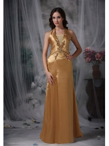 Gorgeous Gold Evening Dress Empire Halter Taffeta Beading Floor-length