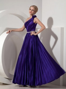 Lovely Dark Purple One Shoulder Prom Dress Beading
