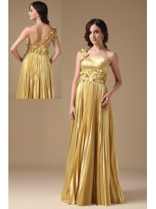 Maize Evening Dress Empire One Shoulder Elastic Woven Satin Hand Made Flowers and Pleat Floor-length