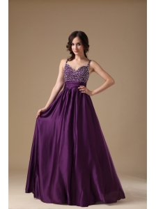 Modest Purple Straps Prom Dress Chiffon Beading
