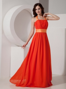 Orange Halter Chiffon Prom Dress with Sashes / Ribbons