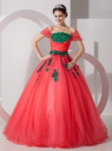 Pretty Coral Red Princess Off The Shoulder Prom Dress Organza Appliques