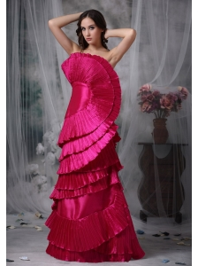 Pretty Hot Pink Evening Dress Column / Sheath Strapless Taffeta Ruch Floor-length