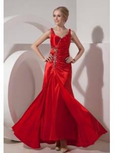Pretty Red Evening Dress Column Straps Silk Like Satin Beading Floor-length