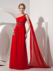Pretty Red Evening Dress Empire One Shoulder Chiffon Beading Watteau Train