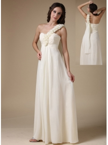 Pretty White Evening Dress Empire One Shoulder Chiffon Hand Made Flowers Floor-length