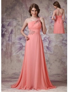 Romantic Watermelon Empire One Shoulder Prom Dress Chiffon Ruch And Beading Brush Train