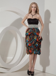 Sexy Colorful Evening Dress Column Strapless Printing Beading Knee-length