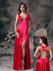 Sexy Coral Red Evening Dress Column V-neck  Elastic Woven Satin Beading and Ruch Floor-length