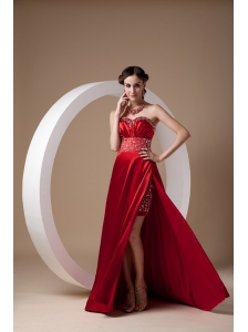 Sexy Wine Red Evening Dress Column Sweetheart  Elastic Woven Satin Beading Brush Train
