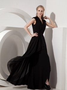 Simple Black Evening Dress Column V-neck Chiffon Floor-length