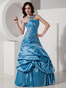 Sky Blue A-Line / Princess Strapless Prom Dress Taffeta Beading Floor-length