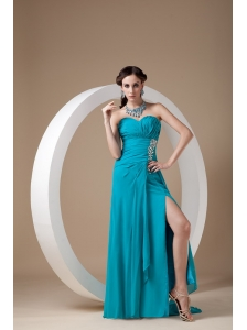 Top Selling Teal  Prom Dress Column Sweetheart Chiffon