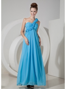 Cheap Aqua Blue Empire One Shoulder Prom / Evening Dress Chiffon Hand Made Flowers Floor-length