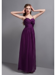 Sexy Purple Ankle-length Chiffon Bridesmaid Dress with Hand Made Flower