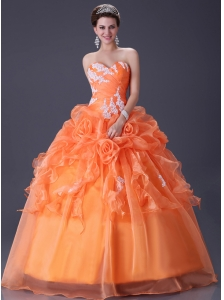 Clearance cheap organza orange color quinceanera dress under 150