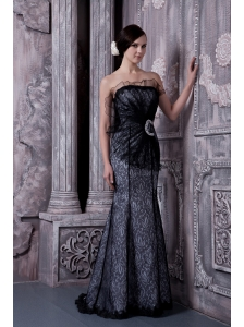 Beautiful Black Mermaid Strapless Evening Dress Organza Beading Floor-length