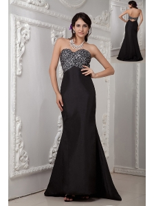 Cheap Black Column Evening Dress Sweetheart Satin Beading Brush Train